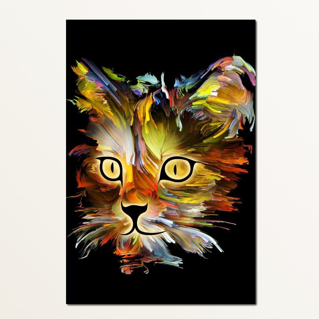 Colorful Cat on Black Background Multi Panel Canvas Wall Art - NicheCanvas