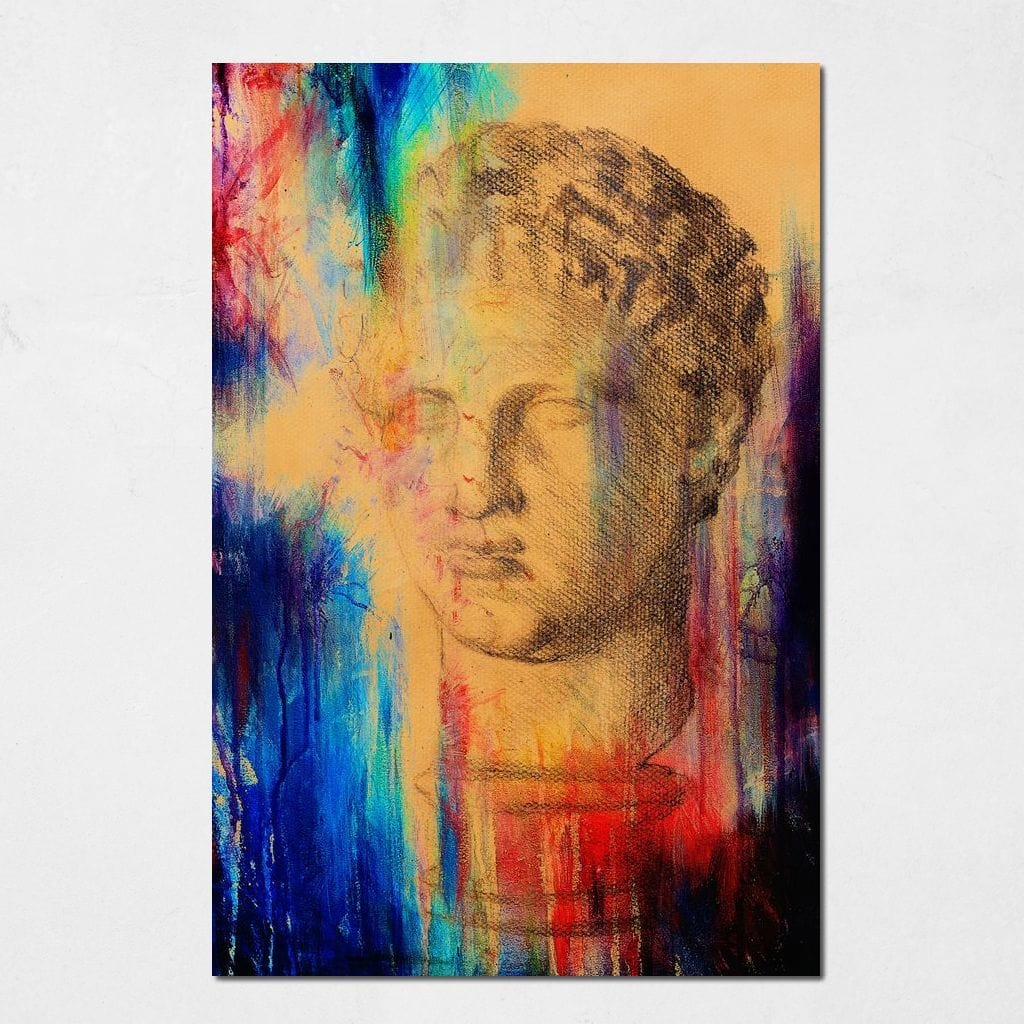 Colored Roman Bust Small Canvas