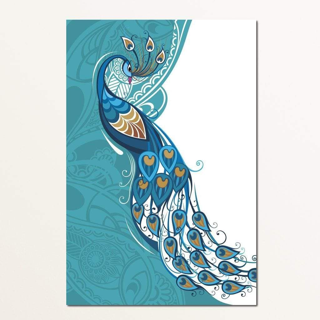 Peacock on Turquoise & White Background Multi Panel Canvas Wall Art - NicheCanvas