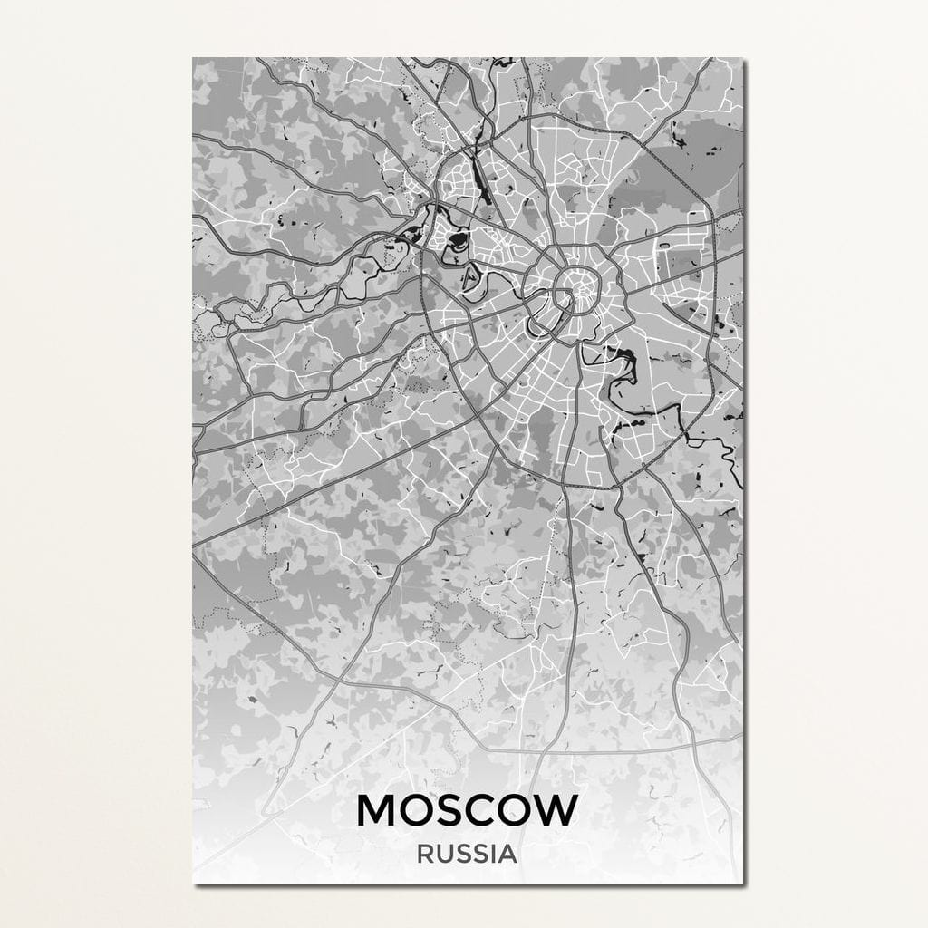 Map of Moscow, Russia Multi Panel Canvas Wall Art - NicheCanvas