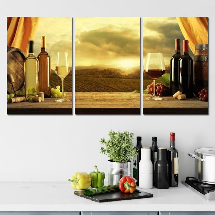 Vineyard View Multi Panel Canvas Wall Art - NicheCanvas