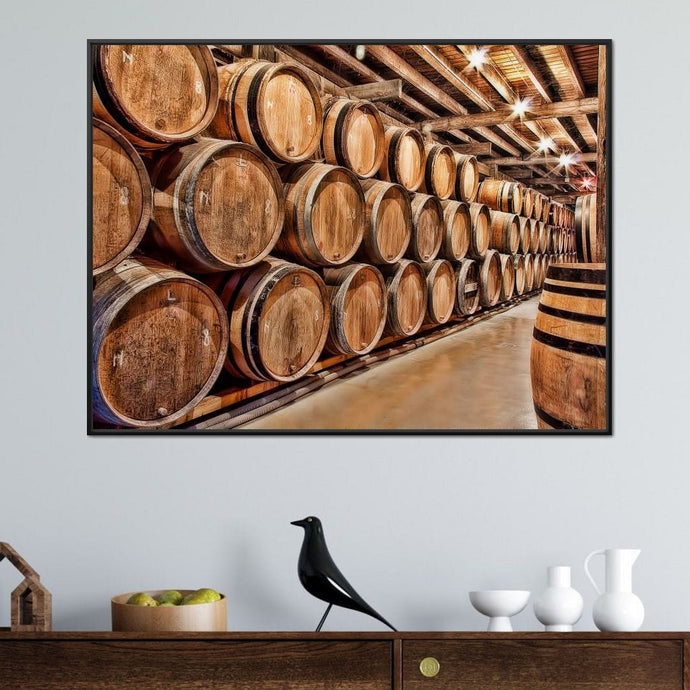 Oak Barrels Multi Panel Canvas Wall Art - NicheCanvas