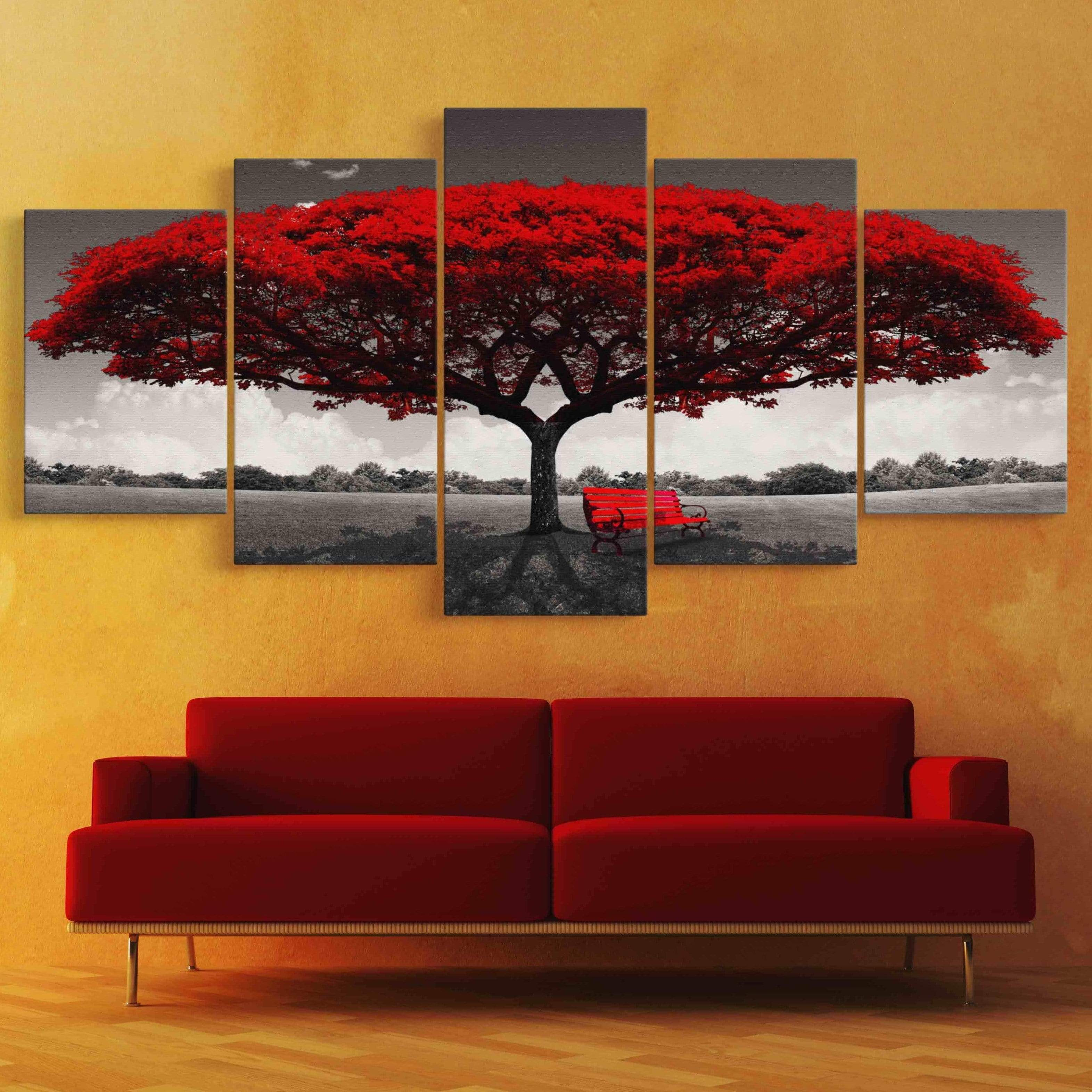 Romantic Tree Forest 5 panel wall art canvas