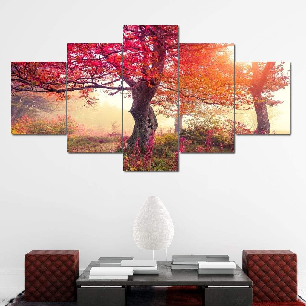 Red Autumn Trees Canvas Set Multi Panel Canvas Wall Art - NicheCanvas