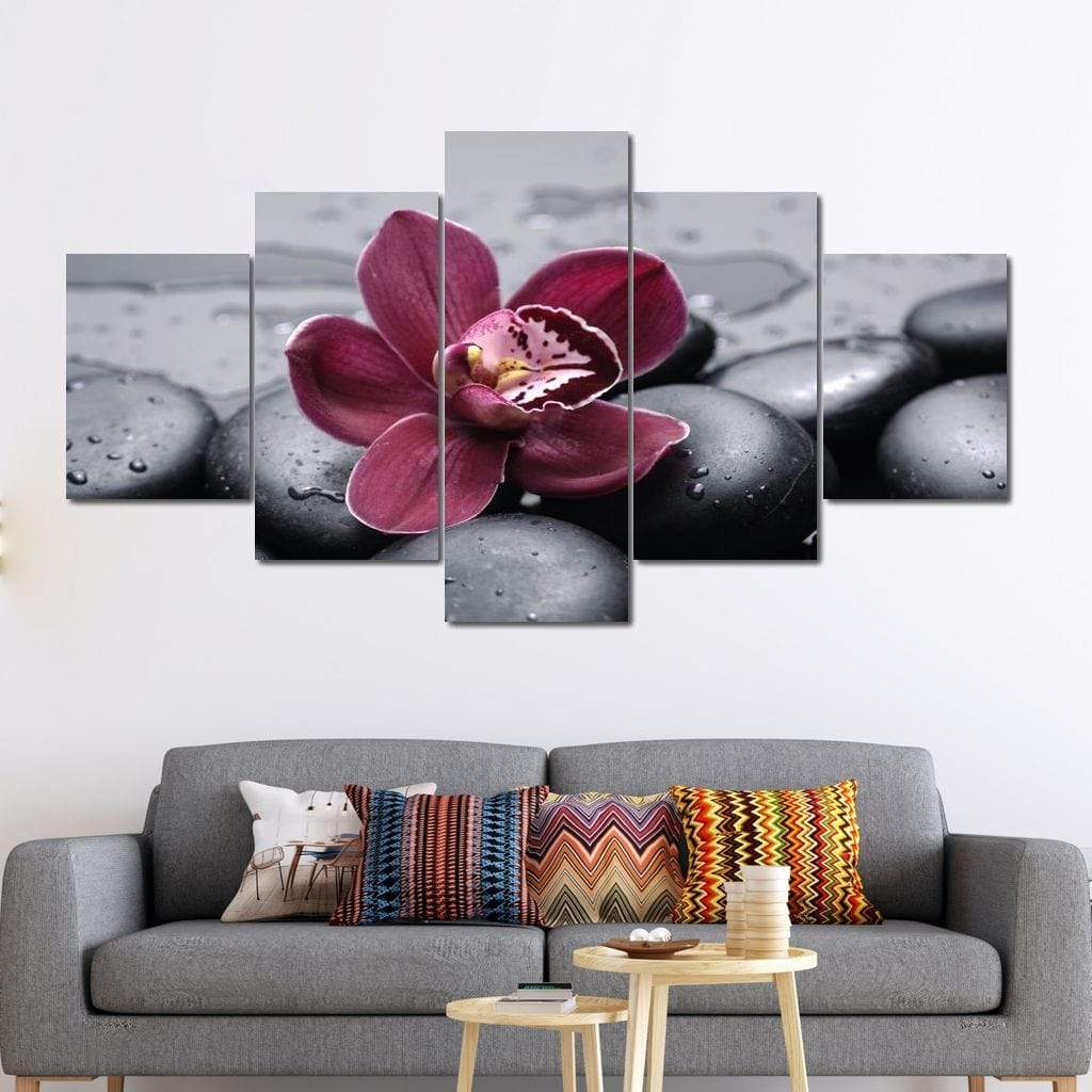 Purple Flower On Black Pebbles Multi Panel Canvas Wall Art - NicheCanvas