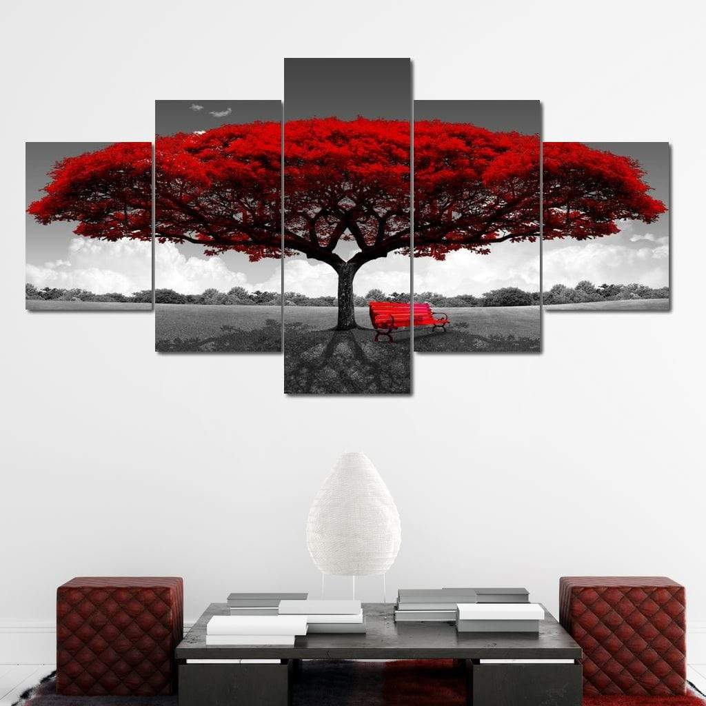 Romantic Tree Multi Panel Canvas Wall Art - NicheCanvas