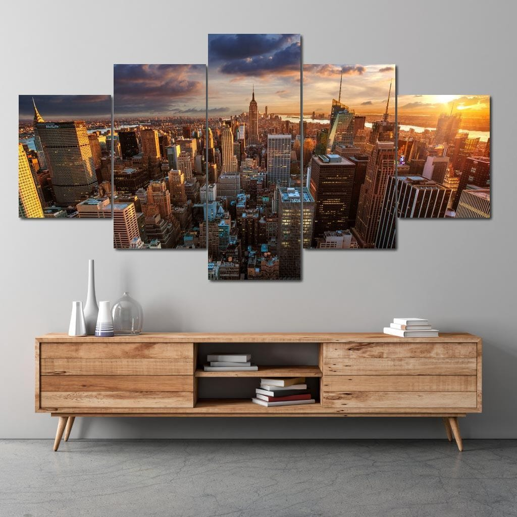 New York City Sunset Multi Panel Canvas Wall Art - NicheCanvas