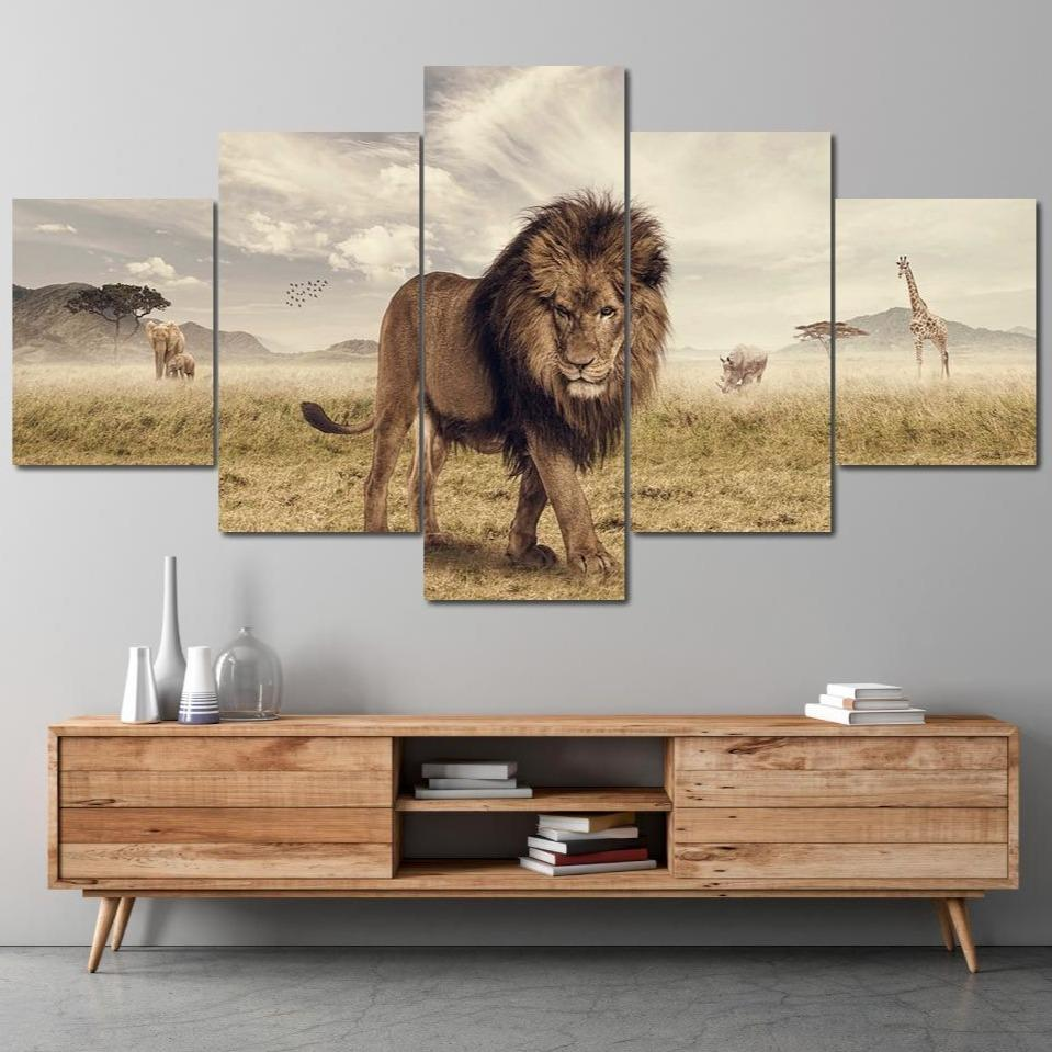 The Big Lion Multi Panel Canvas Wall Art - NicheCanvas
