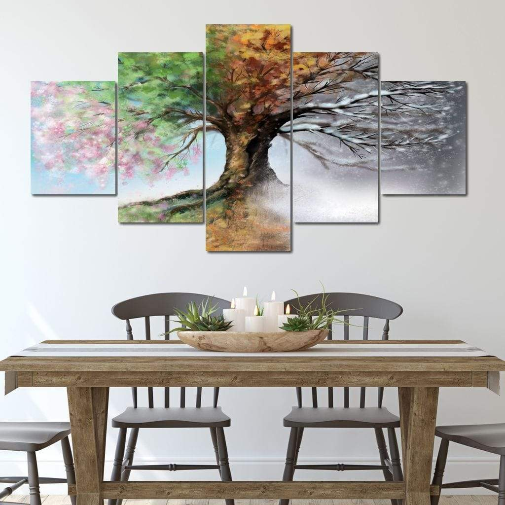 Seasonal Tree Multi Panel Canvas Wall Art - NicheCanvas