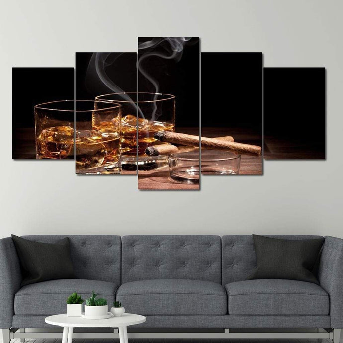 Limited Edition - Whiskey Wall Art 2 Multi Panel Canvas Wall Art - NicheCanvas