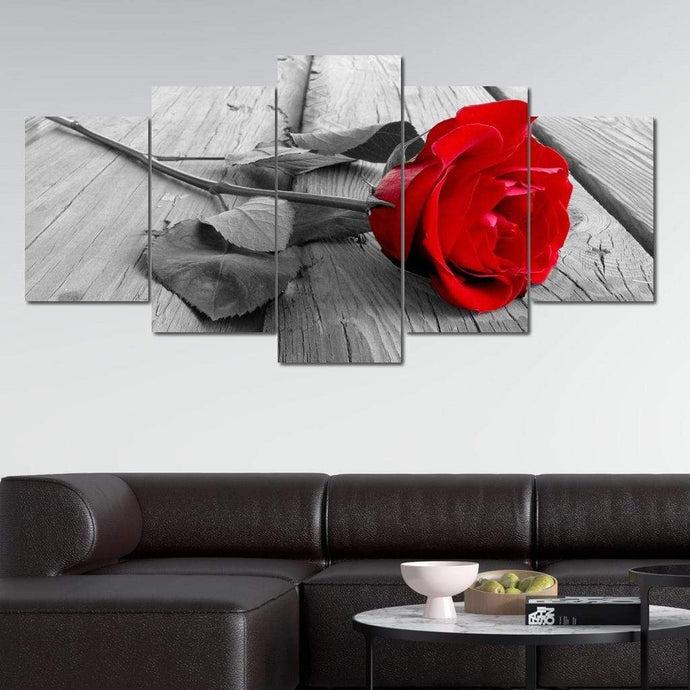 Black and Red Rose Multi Panel Canvas Wall Art - NicheCanvas