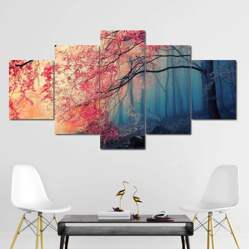 Eerie Forest Multi Panel Canvas Wall Art - NicheCanvas