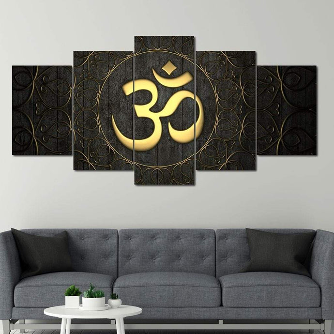 Gold OM Multi Panel Canvas Wall Art - NicheCanvas