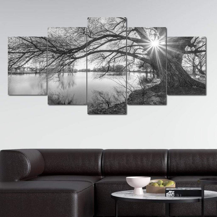Black & White Lake Multi Panel Canvas Wall Art - NicheCanvas