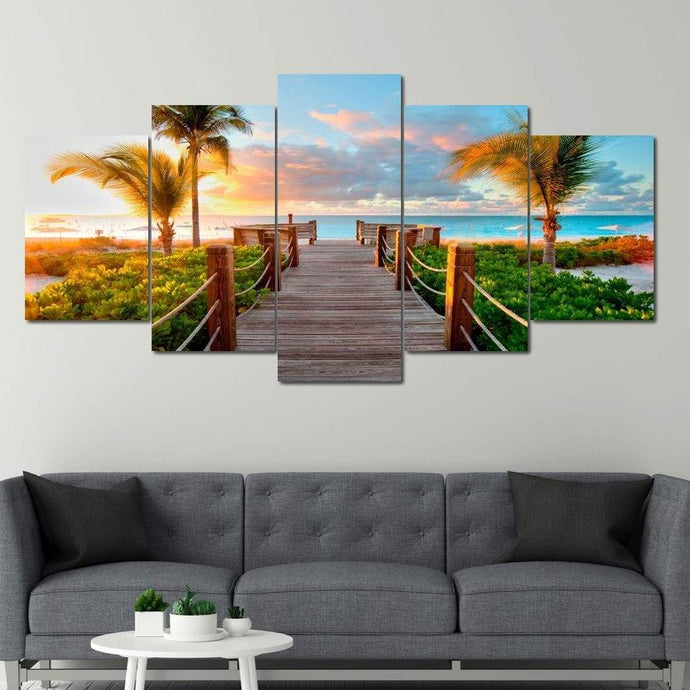 Boardwalk to Paradise Multi Panel Canvas Wall Art - NicheCanvas