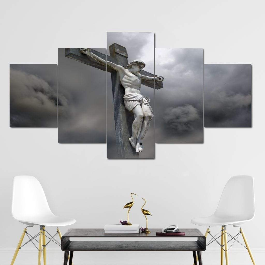 Christ on the Cross Multi Panel Canvas Wall Art - NicheCanvas