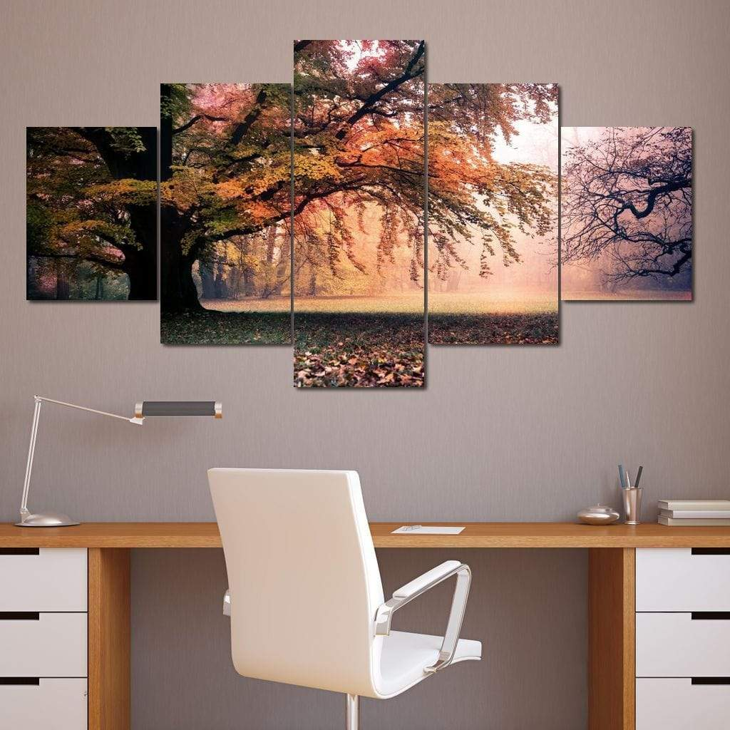 Falling Leaves Multi Panel Canvas Wall Art - NicheCanvas