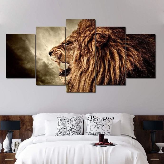 Fierce Lion - Limited Edition Multi Panel Canvas Wall Art - NicheCanvas