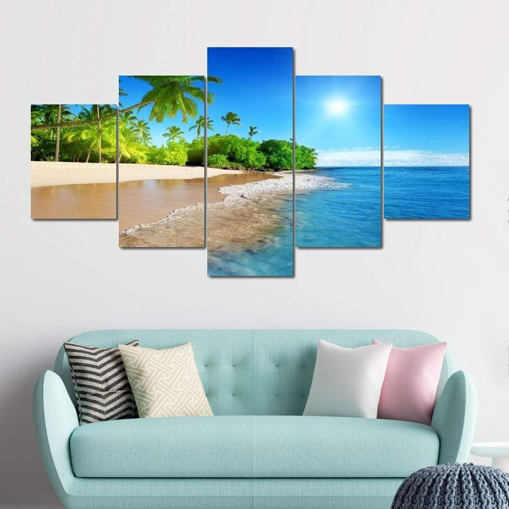 Tropical Day At The Beach Multi Panel Canvas Wall Art - NicheCanvas
