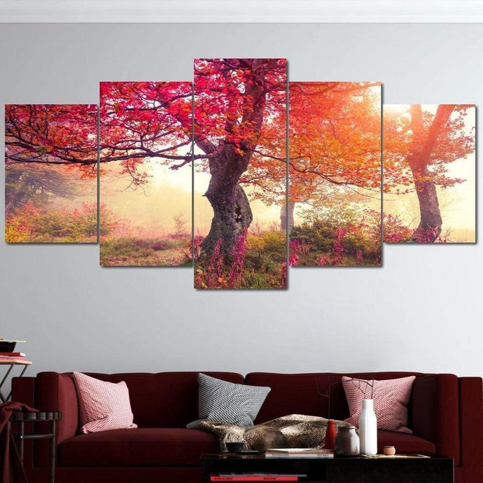Red Autumn Trees Canvas Set - NicheCanvas