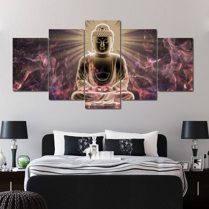 Buddha Meditation Multi Panel Canvas Wall Art - NicheCanvas