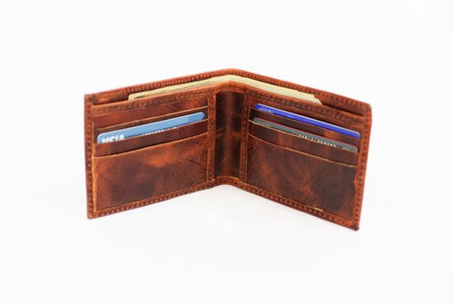 Mission Lazarus Bi-Fold Leather Wallet Chocolate