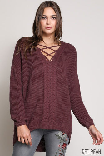 Tatum Hi-Lo Sweater in Wine
