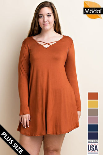 Curvy L/S Swing Dress with Pockets