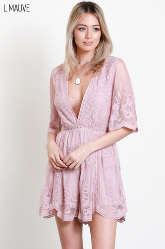 Light Mauve Plunge Romper