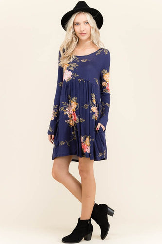 Ryelee Navy Babydoll Dress