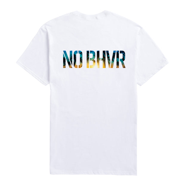 NO BHVR By Night Palm Trees Tee (White)