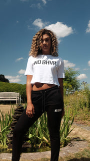 NO BHVR Oversized Cropped Tee (White)