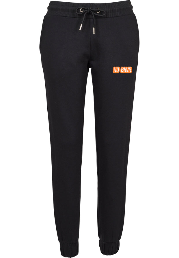 NO BHVR Orange Bubble Logo Ladies Sweat Pants (Black)