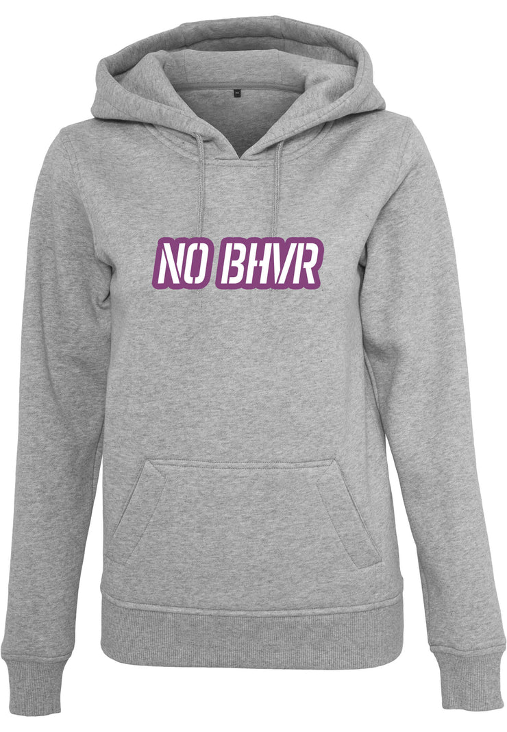 NO BHVR Purple Bubble Logo Ladies Hoodie (Grey)