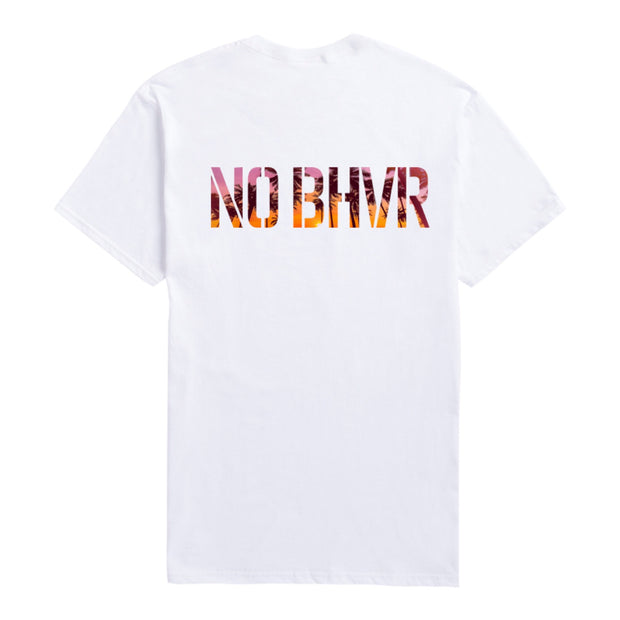 NO BHVR Sunset Palm Trees Tee (White)