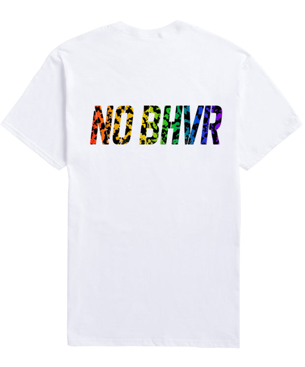 NO BHVR Rainbow Camo Tee (White)