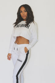 NO BHVR Cropped Terry Jumper (White)