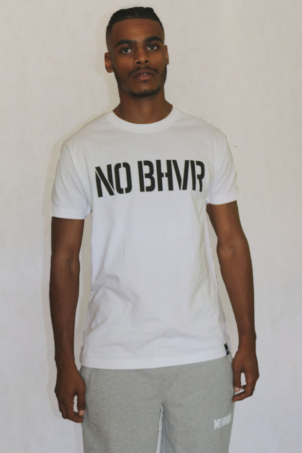 NO BHVR Large Print Tee (White)