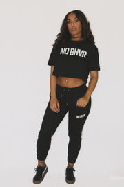NO BHVR Oversized Cropped Tee (Black)