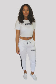 NO BHVR Fitted Small Banner Cropped Tee (White)