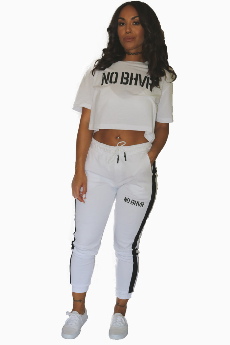NO BHVR Ladies Interlock Jog Pants (White)