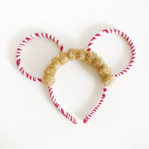 Two Circle Ears // Candy Cane + Gold Poms