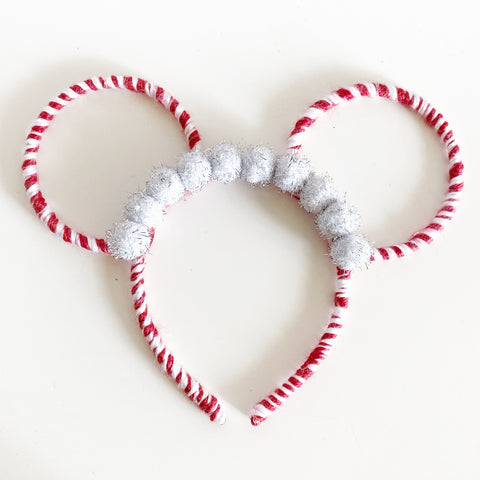 Two Circle Ears // Candy Cane + Silver Poms