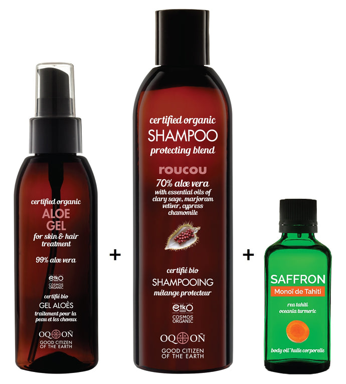 Saffron, Roucou and Aloe Gel Skin & Hair Treatment Package