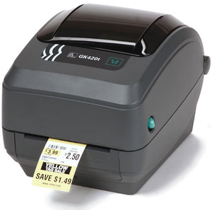 "Zebra GK420t - Thermal transfer printing, 203 dpi, 4"" print width, USB, Ethernet Interfaces.Includes EU/UK power supply and USB cable"