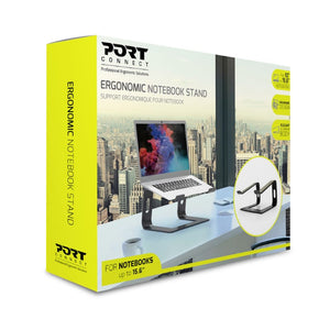Port Ergonomic Notebook Stand for Notebooks 10 to 15.6inches - Aluminium