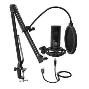 Fifine T669 Cardioid USB Condensor Microphone Arm Desk Mount Kit - Black