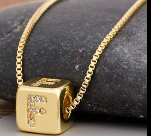 Initial Cube Necklace (F)