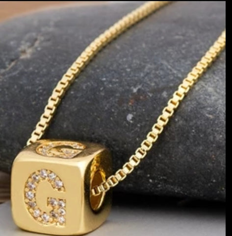 Initial Cube Necklace (G)