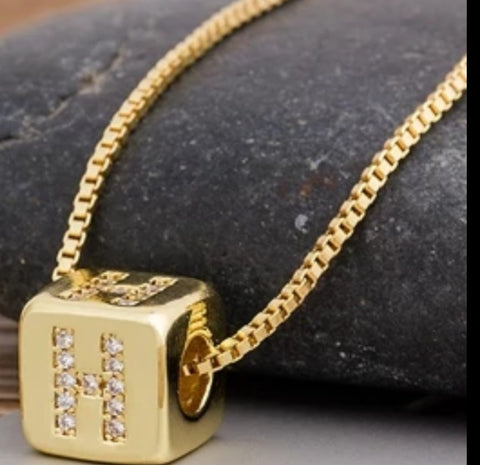 Initial Cube Necklace (H)